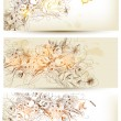 图库矢量图片: Set of flower hand drawn backgrounds