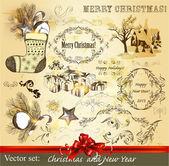 Christmas calligraphic set — Stock Vector