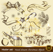 Collection of hand drawn Christmas objects — Stock Vector
