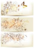 花の手描きの背景のセット — ストックベクタ
