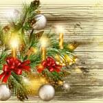 fundo de Natal com galhos de pinheiro decorado em tex de madeira — Vetorial Stock