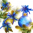 Christmas card with realistic  blue baubles, bows, cones  and fu — Image vectorielle
