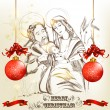 Christmas hand drawn greeting card with holy family — Vector de stock