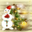 Greeting Christmas and New Year card with snowman holding gift o — Image vectorielle