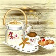 Background with teapot, sweets and cup of tea on a grunge wooden - Imagen vectorial