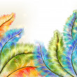 Abstract clear background with colorful vector ferns - Vettoriali Stock 