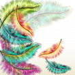 Vector de stock : Colorful fashion background with vector filigree ferns