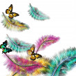 Colorful vector background with ferns and butterflies - Imagen vectorial