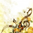 Vector de stock : Grunge music romantic background with notes and roses