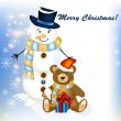 Christmas greeting card with snowman and toy bear — Vector de stock