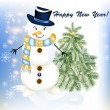 New year greeting card with snowman and fir tree — Vector de stock