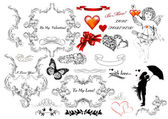 Collection of calligraphic design elements on St Valentine — Stock Vector