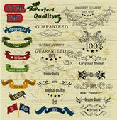 Collection of retro labels best, original genuine and high quali — Stock Vector