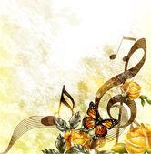 Grunge musique romantique fond avec notes et roses — Vecteur
