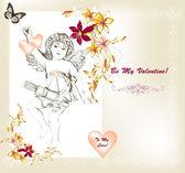 χαριτωμένο αγίου βαλεντίνου κάρτα σε στυλ vintage με σύμβολο άγγελος της αγάπης μια — Διανυσματικό Αρχείο