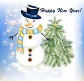 Carte de voeux de nouvel an avec arbre de bonhomme de neige et de sapins — Vecteur