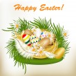 Easter greeting card with colorful eggs, green grass and nest — Image vectorielle