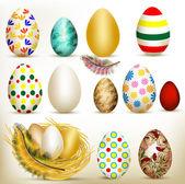 カラフルなベクトルの卵のイースターのセット — ストックベクタ