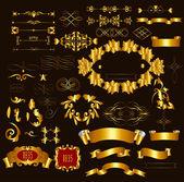 голд рамке роскошные каллиграфические элементы и страницы decora — Cтоковый вектор