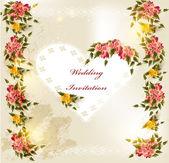 Tarjeta de invitación de boda con corazón de encaje y rosas — Vector de stock