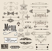 Calligraphic design elements and page decorations — Stock Vector