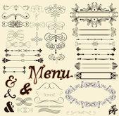 éléments de dessin calligraphique et décorations de la page dans un style rétro — Vecteur