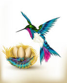 Colorful background with realistic hummingbird and nest full of — Stock Vector