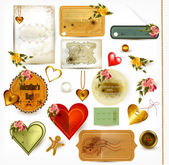 Collection of retro labels with flowers on St. valentine — Vector de stock