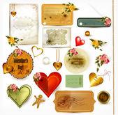 聖バレンタインの花とレトロなラベルのコレクション — ストックベクタ