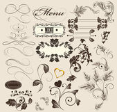 Calligrafici elementi decorativi per il design in stile vintage — Vettoriale Stock