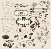 Kalligrafiska dekorativa element för design i vintage stil — Stockvektor