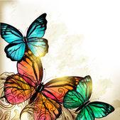 与蝴蝶优雅时尚背景 — 图库矢量图片