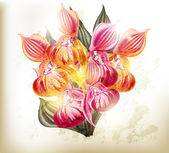 Realistic vector bouquet of orchids — Stock Vector