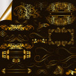Collection of calligraphic golden design elements and page decor — Imagens vectoriais em stock