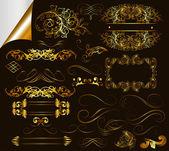 书法金设计元素和页装饰的集合 — 图库矢量图片