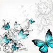 Elegant background with butterflies and ornament - Imagen vectorial