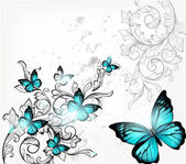与蝴蝶和装饰典雅背景 — 图库矢量图片