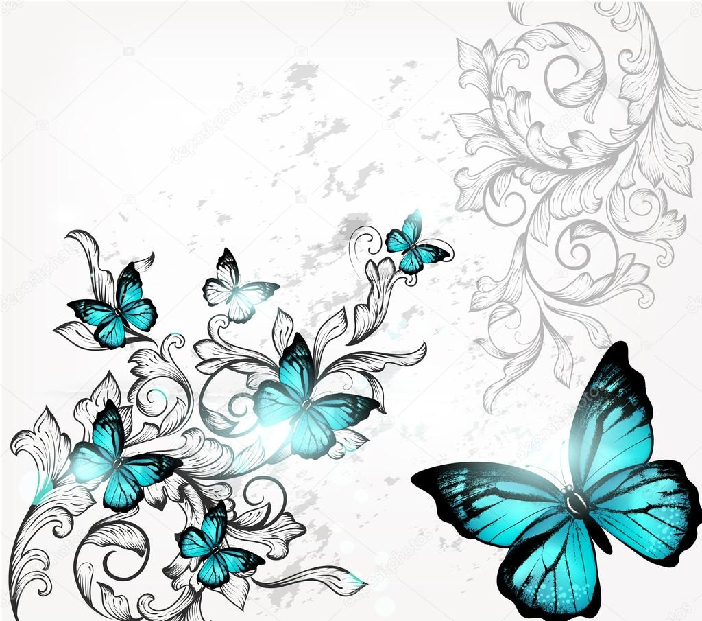 Elegant Background With Butterflies And Ornament Stock