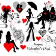 Couple silhouettes set for valentine's design — Stock Vector
