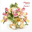 Cute Easter greeting card with basket full of realistic  tulips — Stock Vector