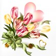 Cute valentine background with  pink heart and realistic tulip f — Grafika wektorowa