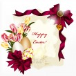 Easter card with banner, space for text, eggs, bows and flowers — Векторная иллюстрация