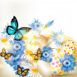 Easter greeting card with nest full of eggs and field flowers - Vektorgrafik