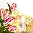 Easter greeting card with nest full of eggs and tulips — Stock vektor