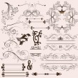 Set of calligraphic vintage design elements and page decorations - Stock Vector