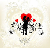 Carta di invito di nozze con un paio di abiti da sposa giovane — Vettoriale Stock