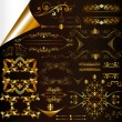 Calligraphic gold-framed design elements and page decorations - ベクター素材ストック