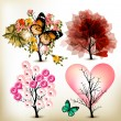 Stok Vektör: Collection of decorative valentine tree for design