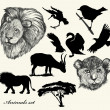 Vector de stock : Collection of hand drawn animals and silhouettes