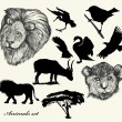 Stok Vektör: Collection of hand drawn animals and silhouettes
